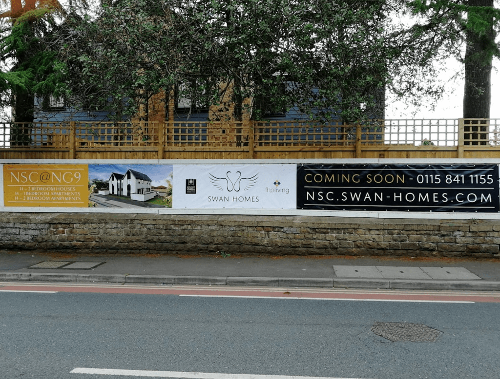 Hoarding for Neville Sadler Court in Beeston installed